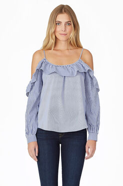 Maureen Combo Blouse - Powder Blue