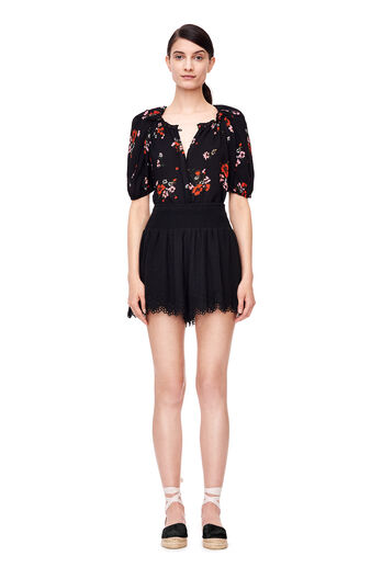 Short Sleeve Marguerite Silk Top - Black