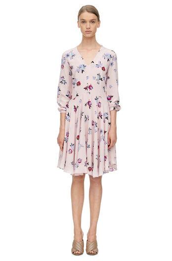 Long Sleeve Bellflower Print Dress