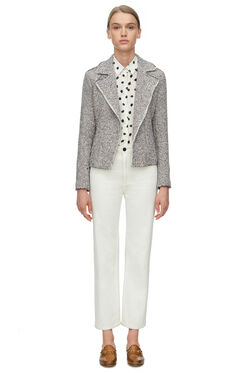 Structured Stretch Tweed Jacket - Nude