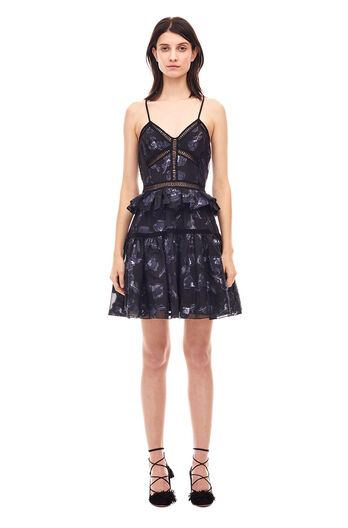 Floral Jacquard Midi Dress - Black/Navy