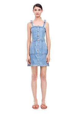 La Vie Drapey Denim Dress - Forget Me Not Wash