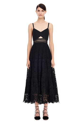 Piqué Lace Dress - Black