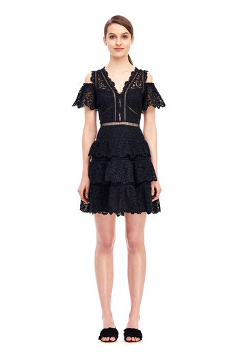 Cold Shoulder Lace Dress - Black