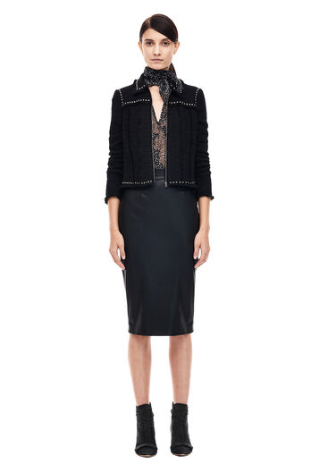 Vegan Leather Pencil Skirt - Black