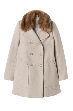 Wool Coat with Fur