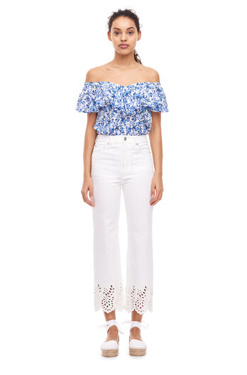 On/Off Shoulder Aimee Top - Blue Combo