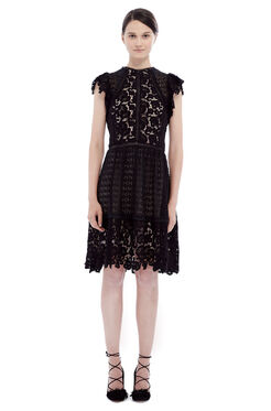 Short Sleeve Lace Mix Dress - Black