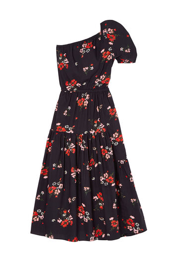 One-Shoulder Marguerite Floral Poplin Dress