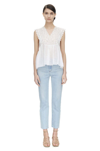 Sleeveless Stitched Square Embroidered Top