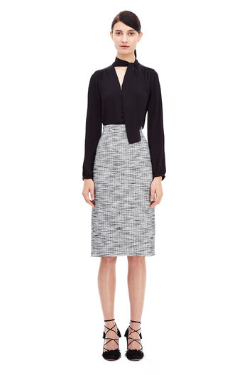 Bouclé Tweed Pencil Skirt - Black/Chalk