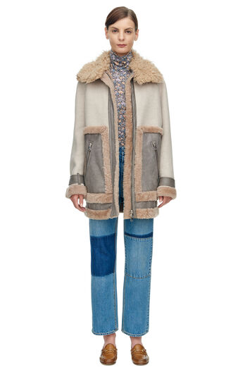 Shearling Mix Coat - Champagne Combo