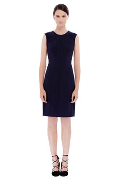 Sleeveless Suit Sheath Dress - Navy