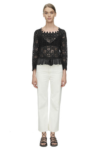 Long Sleeve Crochet Lace Top