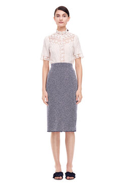 Stretch Tweed Skirt - Indigo Combo
