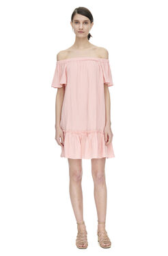 Off Shoulder Gauze Dress - Malibu Peach