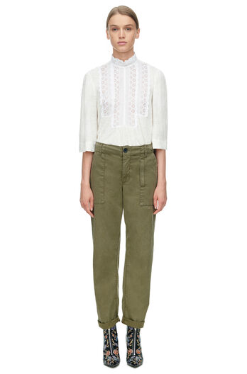 La Vie Long Sleeve Linen and Lace Jersey Top