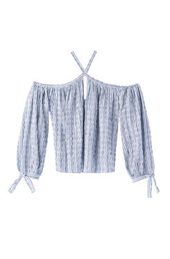 Open Shoudler Yarn-Dyed Striped Top