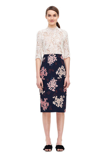 Phlox Floral Skirt - Dark Navy