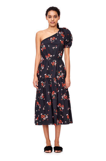 One-Shoulder Marguerite Poplin Dress - Black