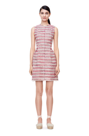 Sleeveless Optic Tweed Dress - Candy Apple Combo