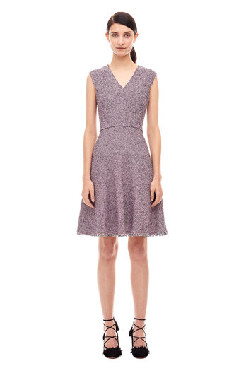 Stretch Tweed Dress - Pink/Navy