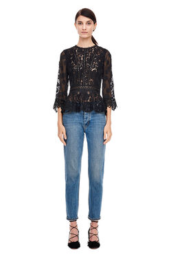 Lace Mix Top - Black