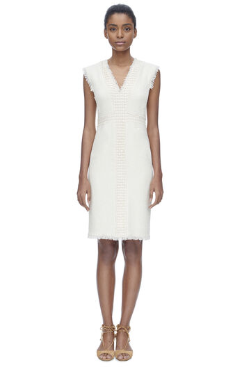 Sleeveless Stretch Tweed Dress