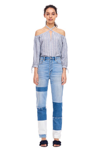 Open Shoudler Yarn-Dyed Striped Top - Blue/Milk