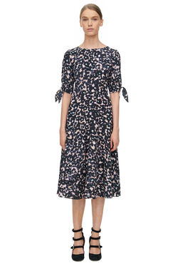 Short Sleeve Oleander Print Dress - Black Combo