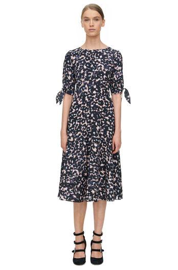 Short Sleeve Oleander Print Dress