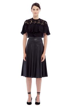 Vegan Leather Midi Skirt - Black