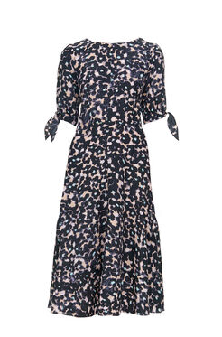 Short Sleeve Oleander Print Dress