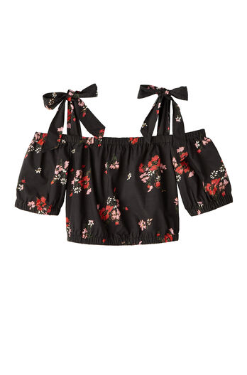 Open Shoulder Marguerite Floral Poplin Top