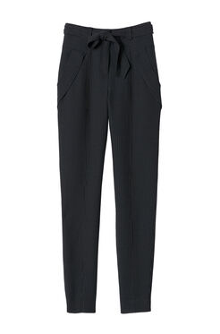 Belted Pinstripe Pant