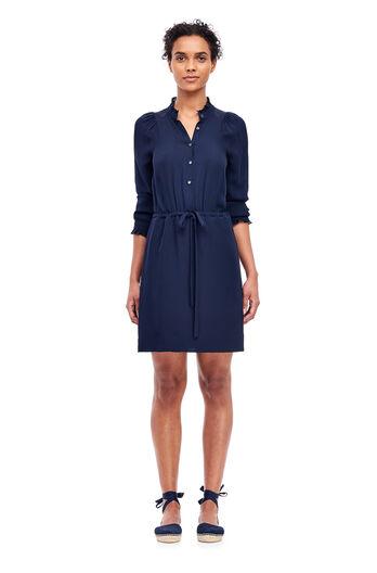 Silk Georgette Shirt Dress - Dark Navy