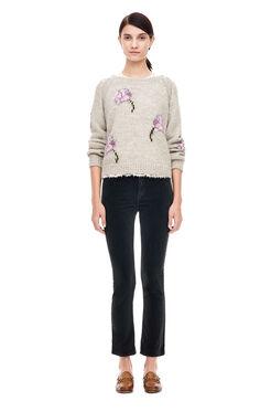 La Vie Floral Intarsia Pullover - Light Grey Melange