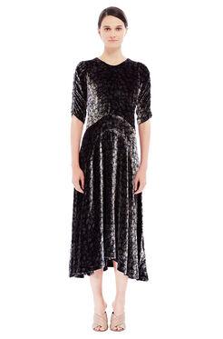 Velvet Liane Floral Midi Dress - Black Combo