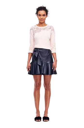 Vegan Leather Ruffle Skirt - Dark Navy