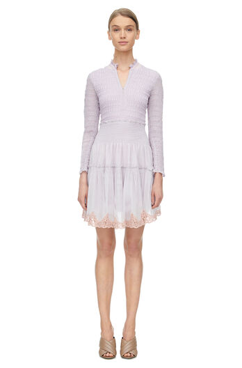 Long Sleeve Clip Mix Dress