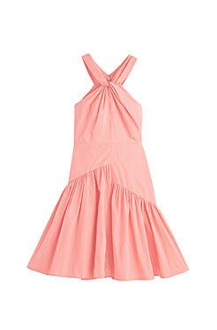 Knot Neck Taffeta Dress