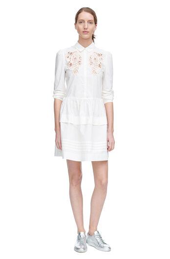 Long Sleeve Medallion Lace Poplin Dress