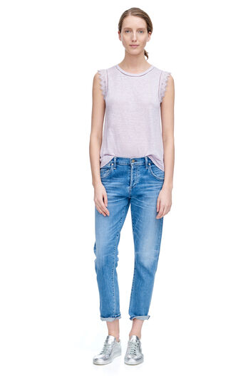 Linen Embroidered Tee