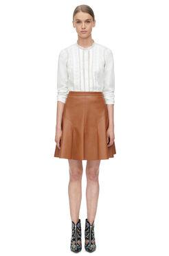 Vegan Leather Skirt - Cognac