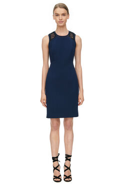 Shift Dress with Lace - Navy