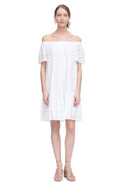 Off Shoulder Embroidered Gauze Dress - Sea Salt