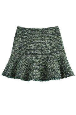 Textured Tweed Ruffle Skirt