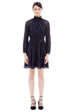 Long Sleeve Metallic Clip Dress - Dark Navy