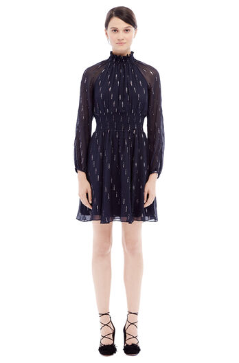 Long Sleeve Metallic Clip Dress - Dark Navy