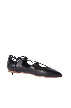 Loeffler Randall Ambra Lace Up Leather Flat - Black